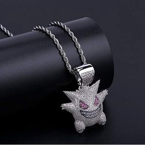 Gold Plated Iced-Out Gengar Pendant Necklace chain